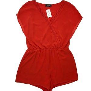 NWT Fab'rik Red V-Neck Shorts Romper Size L